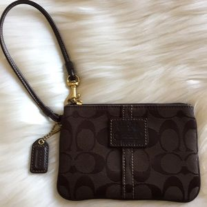 Coach Signature Brown Canvas Mini Wristlet